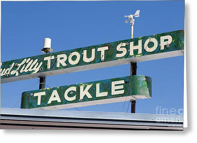 Vintage Trout Shop Sign West Yellowstone Greeting Card