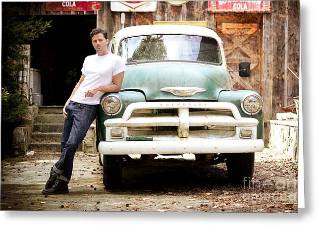 Vintage Truck And Handsome Man Greeting Card by Jt PhotoDesign