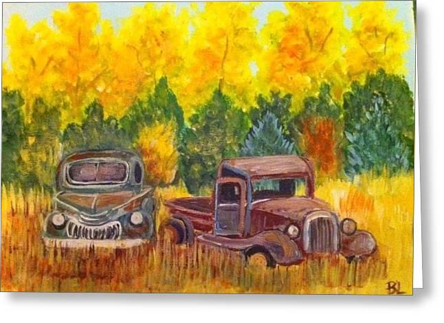 Vintage Trucks Greeting Card by Belinda Lawson