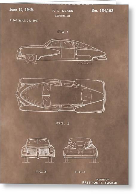 Vintage Tucker Sedan Patent Greeting Card by Dan Sproul