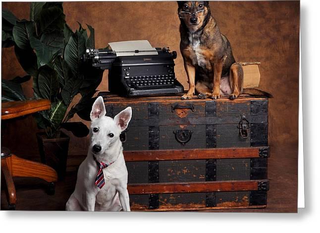 Vintage Typewriter With Working Dogs Greeting Card