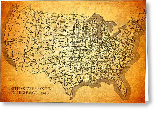 Vintage United States Highway System Map On Worn Canvas Greeting Card by Design Turnpike