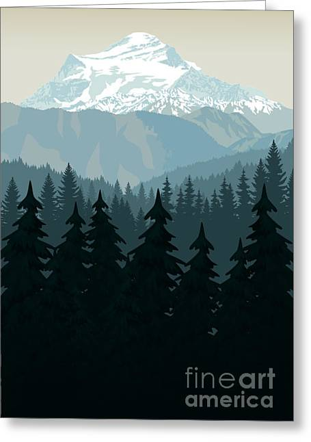 Vintage Vector Mountains Forest Greeting Card