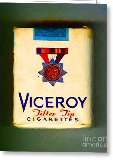 Vintage Viceroy Cigarette - Painterly Greeting Card by Wingsdomain Art and Photography