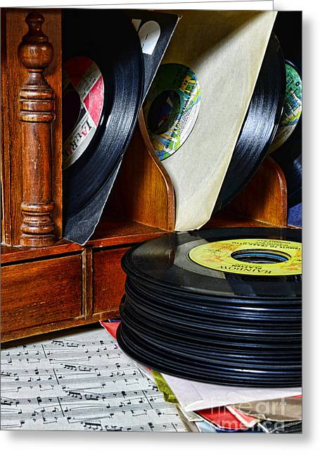 Vintage Vinyl Record Library Greeting Card by Paul Ward