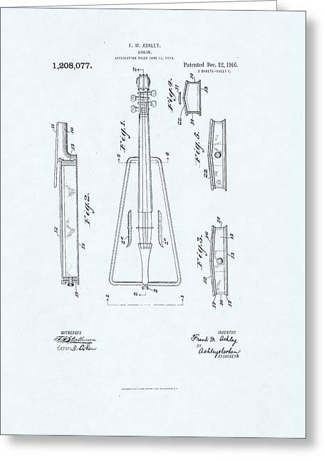 Violin Patent Drawing On Blue Background Greeting Card by Steve Kearns