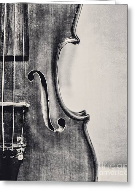Vintage Violin Portrait In Black And White Greeting Card