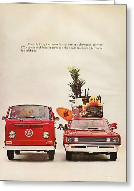 Vintage Volkswagen Camper Van  Greeting Card by Georgia Fowler