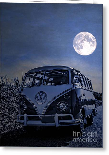 Vintage Vw Bus Parked At The Beach Under The Moonlight Greeting Card
