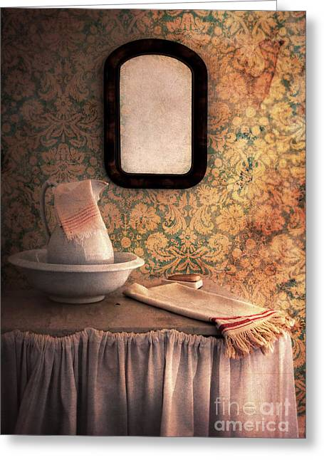 Vintage Wash Basin And Pitcher Greeting Card