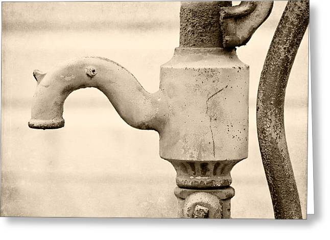 Vintage Water Pump Faucet In Sepia Greeting Card by Lisa Russo