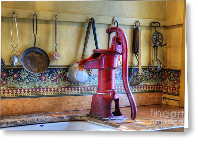 Vintage Water Pump Greeting Card by Juli Scalzi