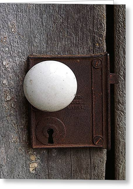 Vintage White Doorknob Greeting Card by TnBackroadsPhotos