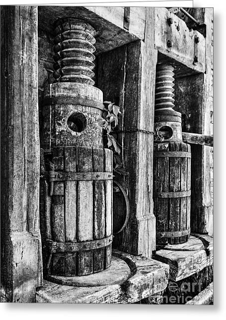 Vintage Wine Press Bw Greeting Card