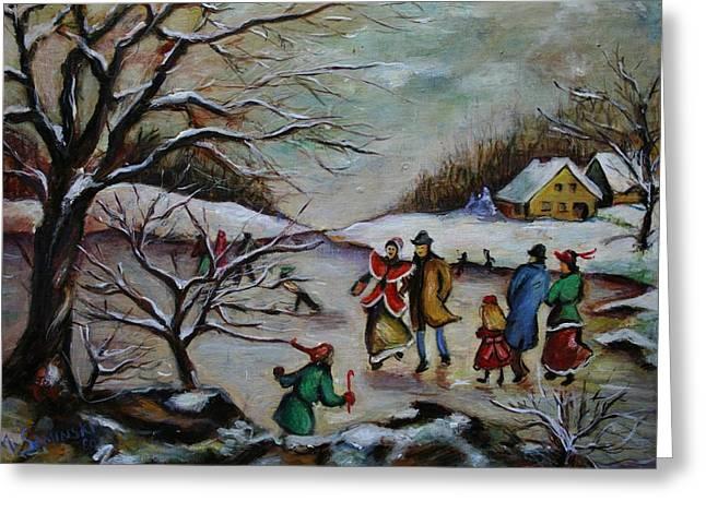 Vintage Winter Scene/skating Away Greeting Card by Melinda Saminski