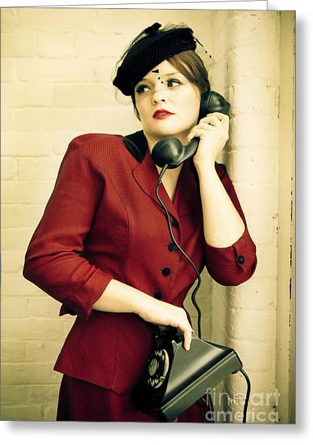 Vintage Woman Greeting Card by Diane Diederich