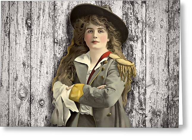 Vintage Woman In Uniform Greeting Card by Peggy Collins