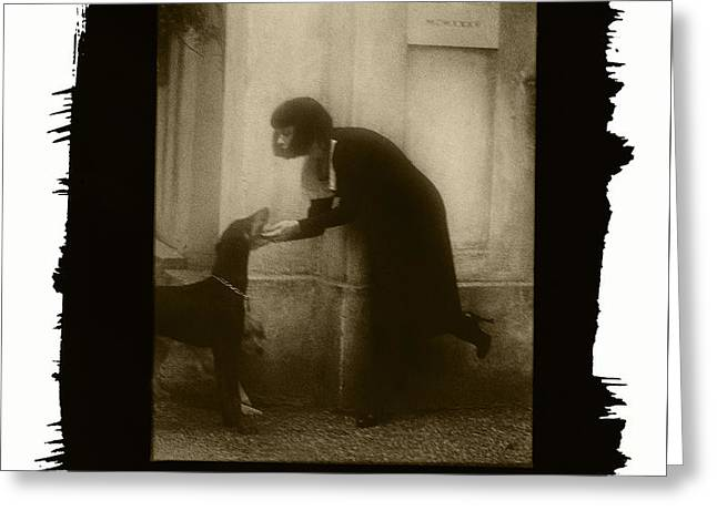 Vintage Woman With Dog Greeting Card