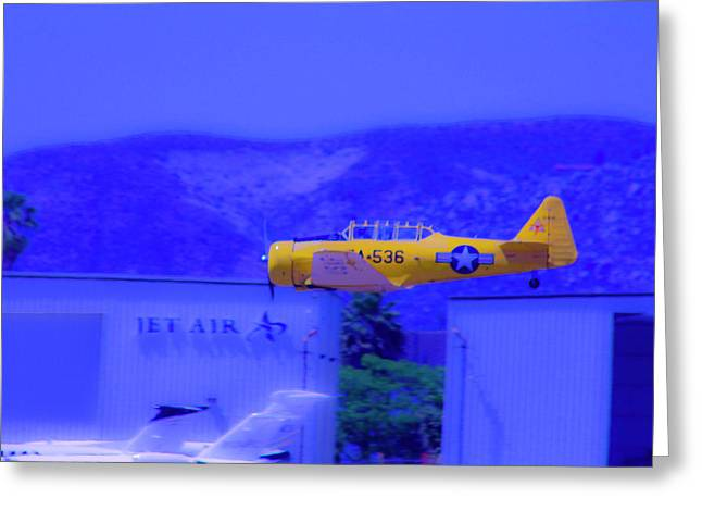 Vintage Yellow Airplane Greeting Card by Terry Thomas