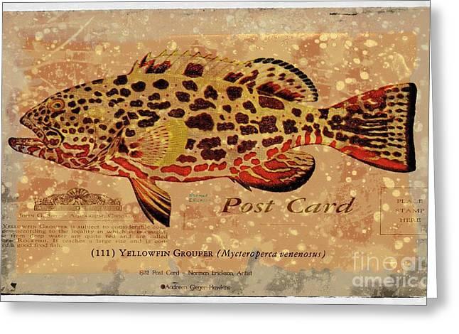 Vintage Yellowfin Grouper Postcard Greeting Card