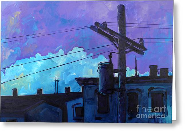 Greeting Card featuring the painting Violet And Purple Give Me The Blues by Michael Ciccotello