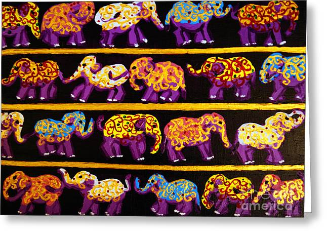 Violet Elephants Greeting Card
