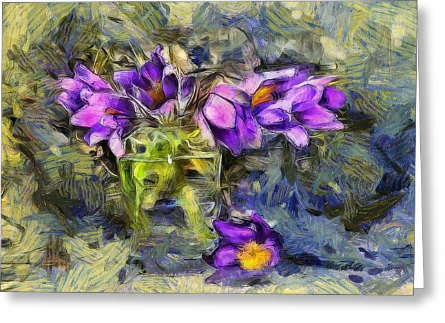 Violet Flowers In Glass Jar Greeting Card by Yury Malkov