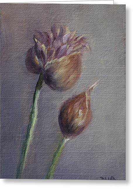 Violet Heads Greeting Card by Debbie Lamey-MacDonald