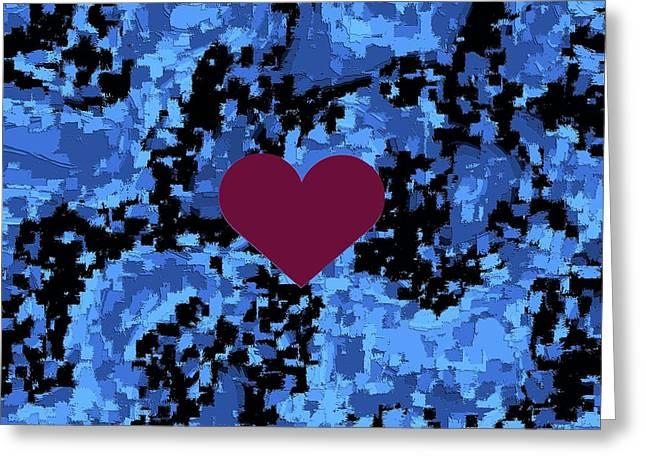 Violet Heart On Blue Pattern Valentine  Greeting Card