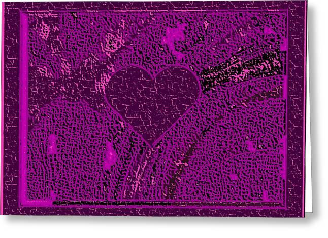 Violet Indigo Magenta Valentine Carved In Stone Iv Greeting Card