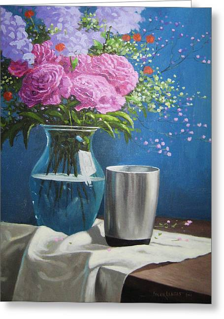 Violet Peonies In Clear Vase Greeting Card by Adler Llagas