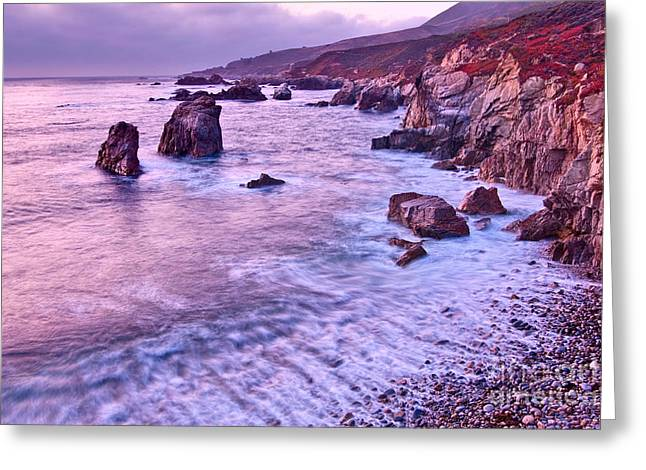Violet Tides - Rocky Coast From Soberanes Point In Garrapata State  Greeting Card by Jamie Pham