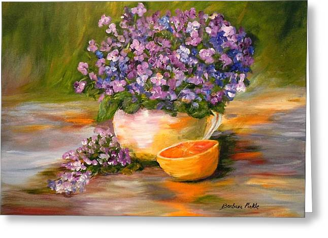 Violets Are Blue Greeting Card by Barbara Pirkle