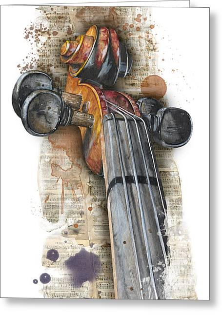Violin 01 Elena Yakubovich Greeting Card by Elena Yakubovich