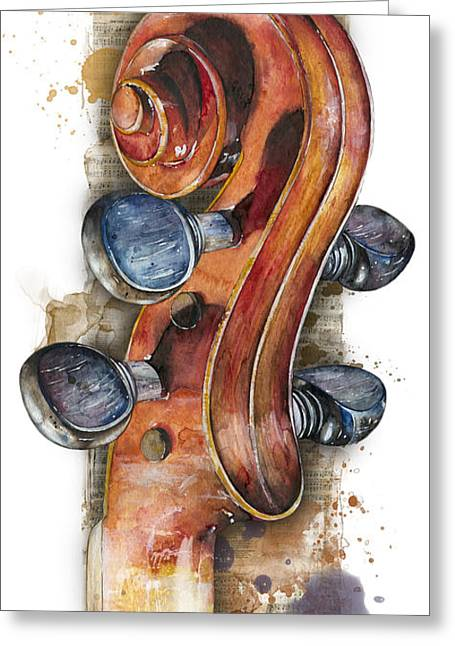 Violin 02 Elena Yakubovich Greeting Card by Elena Yakubovich