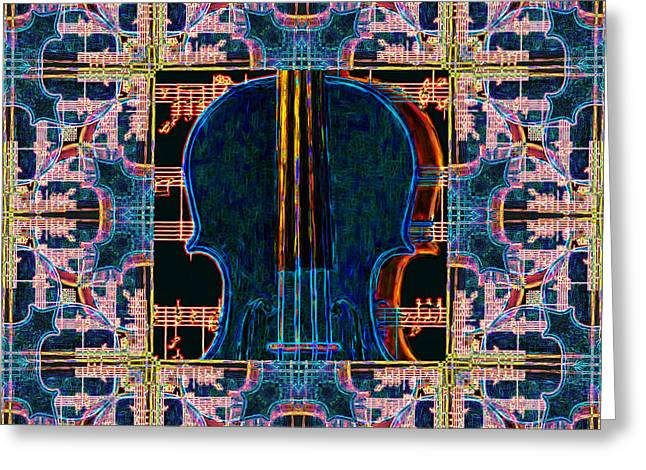 Violin Abstract Window - 20130128v1 Greeting Card by Wingsdomain Art and Photography