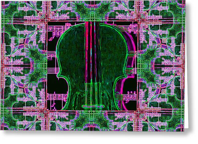 Violin Abstract Window - 20130128v2 Greeting Card by Wingsdomain Art and Photography