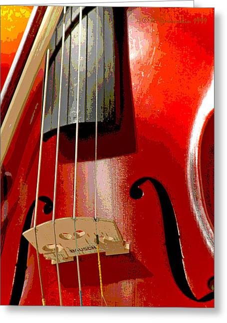 Violin And Bow Digital Painting Greeting Card by A Gurmankin