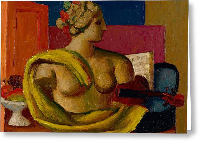 Violin And Bust Greeting Card by Mark Gertler