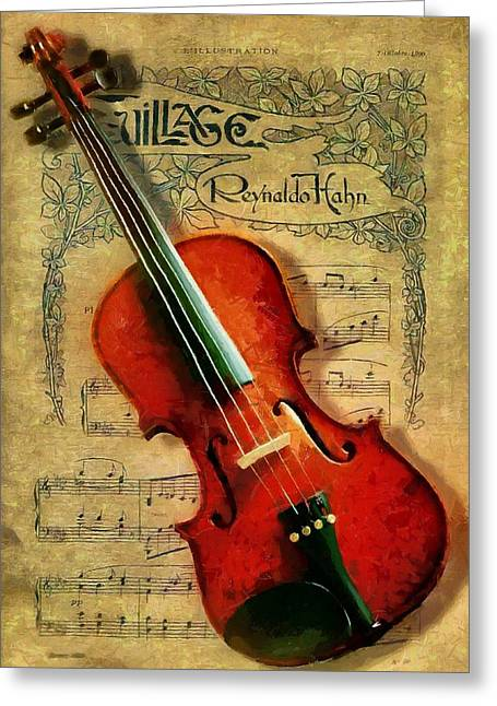 Greeting Card featuring the painting Violin And Notes by Kai Saarto