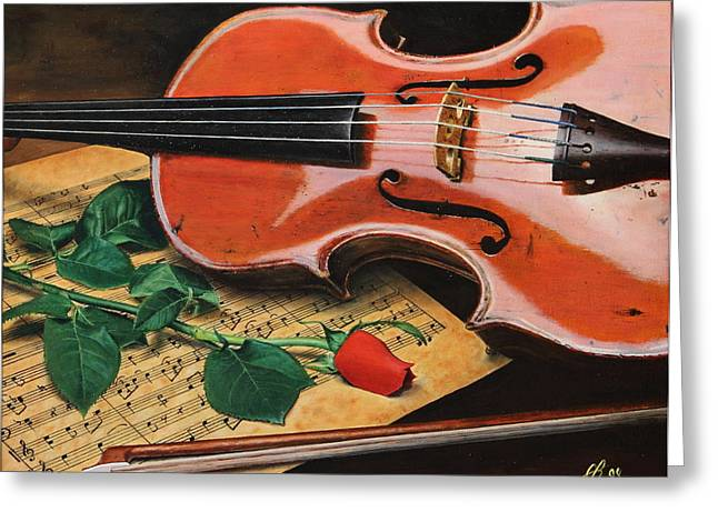 Violin And Rose Greeting Card
