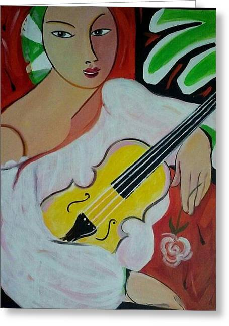 Violin At Rest Greeting Card by Marlene LAbbe