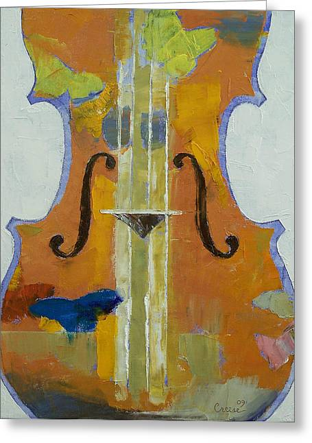 Violin Butterflies Greeting Card by Michael Creese
