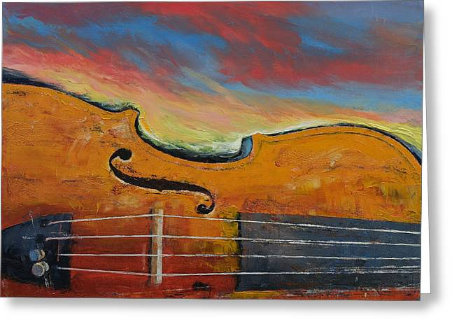 Violin Greeting Card by Michael Creese