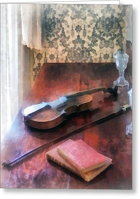Violin On Credenza Greeting Card by Susan Savad