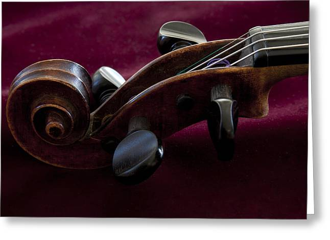 Violin On Deep Red Greeting Card