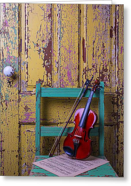 Violin On Worn Green Chair Greeting Card by Garry Gay