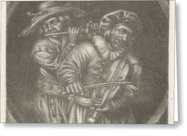 Violin Player And Flutist, Jan Van Somer Greeting Card by Jan Van Somer And Adriaen Brouwer