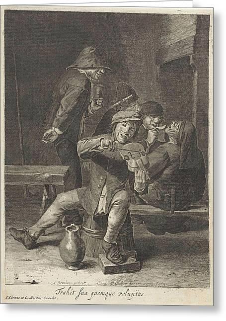 Violin Player, Hearing, Print Maker Cornelis Visscher II Greeting Card