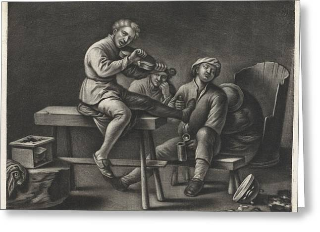 Violin Player In An Inn, Wallerant Vaillant Jan Van Somer Greeting Card